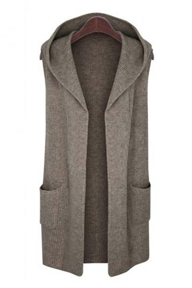 Basic Simple Plain Hooded Sleeveless Open Front Cardigan with Double Pockets, LC450381, Dark gray;khaki
