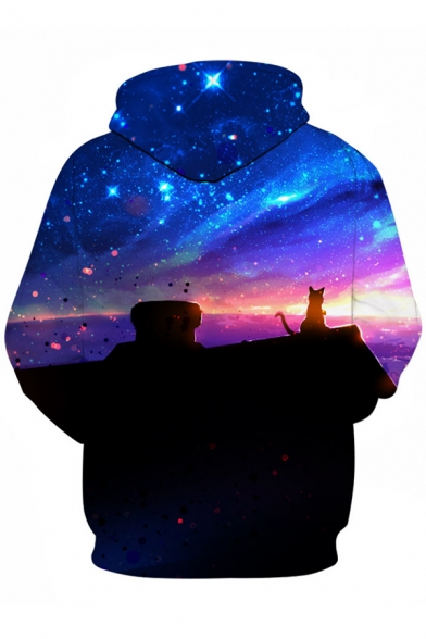 Casual Pattern Hoodie Chic Digital Cat Galaxy Sleeve Long Loose Unisex vvFZO
