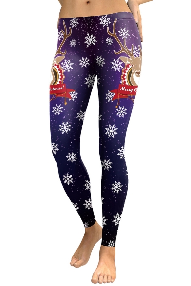 Christmas Elk Snowflake Pattern Elastic Waist Skinny Sports Leggings