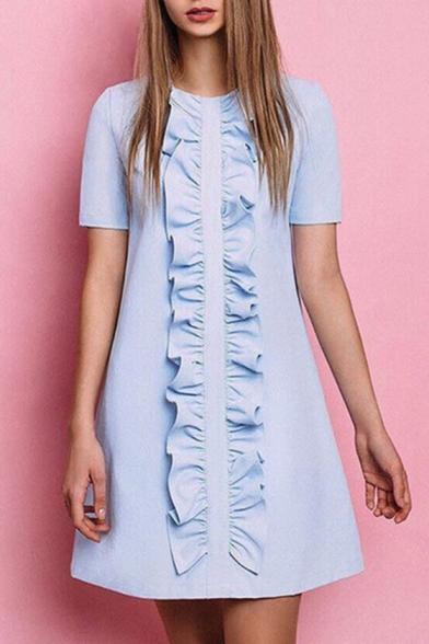 Fashion Ruffle Hem Round Neck Short Sleeve Casual Mini Plain Swing Dress