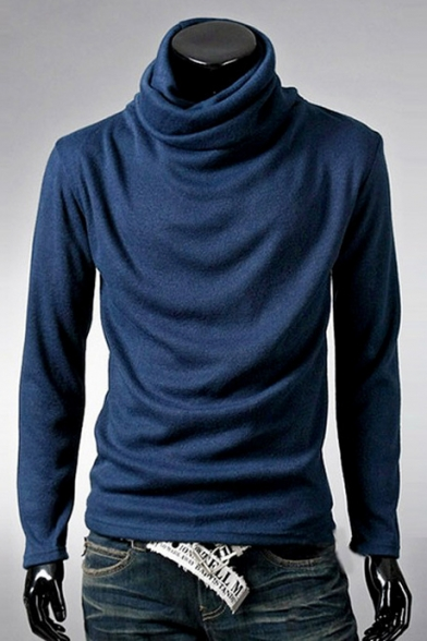 Hot Fashion Simple Plain Turtle Neck Long Sleeve Pullover T-Shirt
