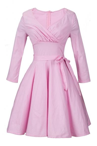 New Arrival Retro Graceful V Neck Long Sleeve Basic Plain A-Line Dress