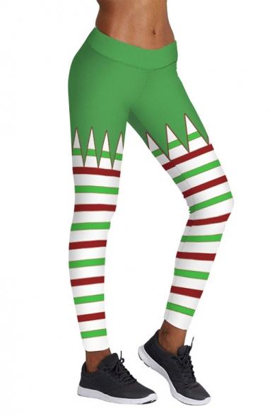 New Collection Fashion Striped Printed Christmas Theme Yoga Leggings