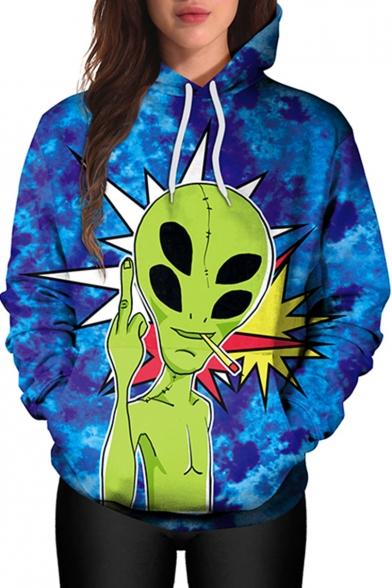 New Stylish Cartoon Alien Pattern Long Sleeve Casual Sports Hoodie