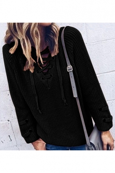 Basic Simple Plain Sexy Lace-Up V Neck Long Sleeve Pullover Sweater