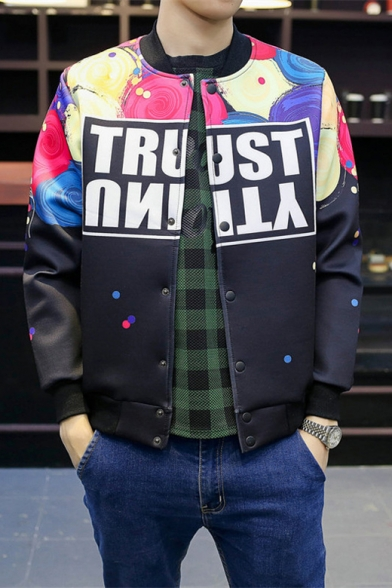 Fashion Color Block Letter Print Stand-Up Collar Buttons Down Baseball Jacket