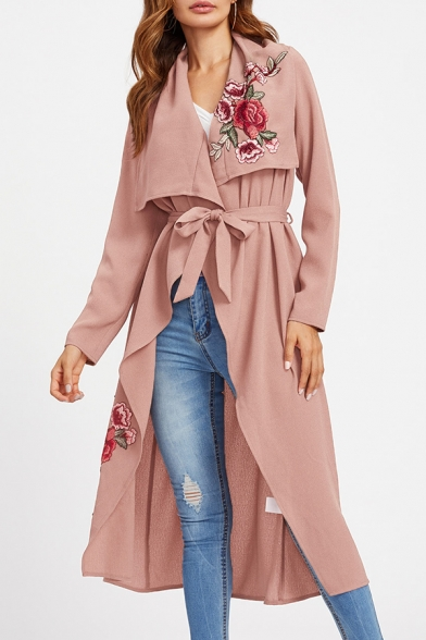 Folded Collar Long Sleeve Chic Floral Embroidered Open Front Trench Coat
