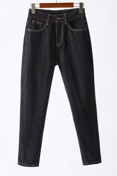 High Waist Contrast Stitching Casual Leisure Tapered Jeans