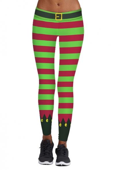 Hot Fashion Christmas Theme Striped Printed Skinny Yoga Leggings