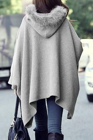 Loose Oversize Fur Hooded Chic Asymmetrical Hem Plain Cape Coat