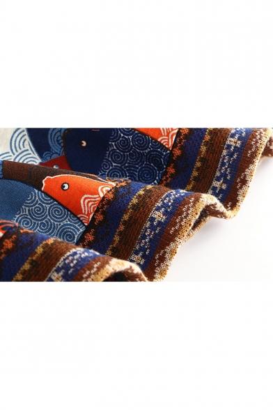 Lovely Cartoon Fish Printed Hem Long Sleeve Hooded Casual Cape Coat