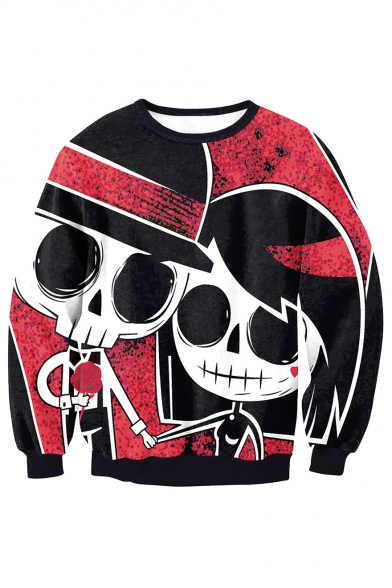 New Arrival Fashion 3D Skull Couple Printed Long Sleeve Round Neck Sweatshirt