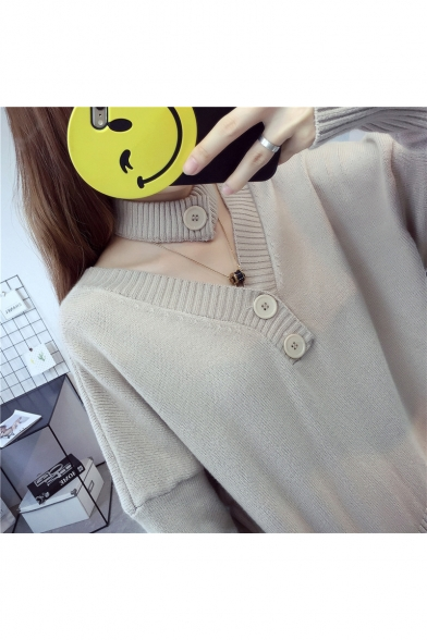 Plain V Sleeve Scarf Fashion New Long with Arrival Down Neck Buttons Reversible Cardigan EO07Wa7q