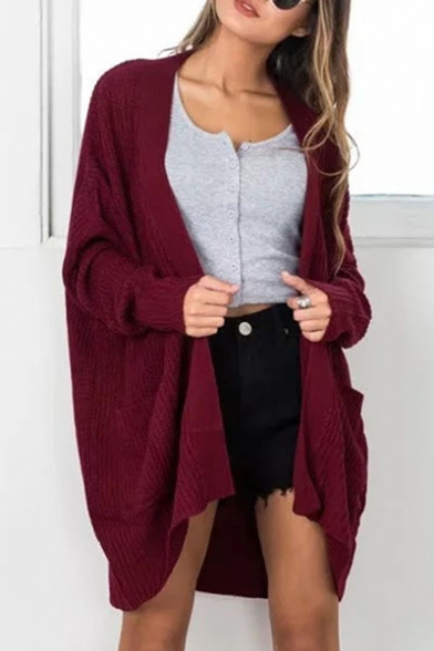 New Arrival Plain Open Front Long Sleeve Loose Cardigan with Pockets, LC449810, Burgundy;pink