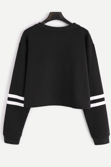 Floral Cropped Neck Leisure Chic Sleeve Sweatshirt Letter Pattern Round Long Sports 4dwRqzw