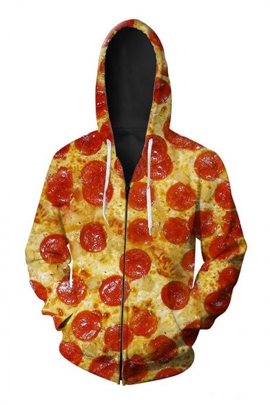 Fashion Digital Pizza Pattern Oversize Loose Long Sleeve Unisex Zip Up Hoodie