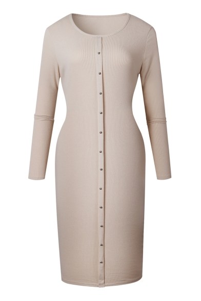 Midi Down Buttons Hot Knit Long Basic Fashion Sleeve Round Neck Dress Plain Wfq8xz0qwg