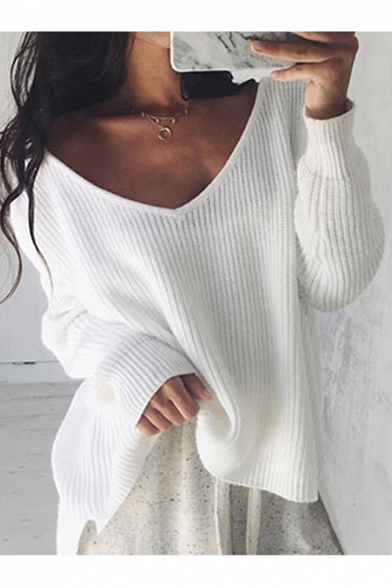 Hot Popular Simple Basic Plain V Neck Long Sleeve Comfort Pullover Sweater