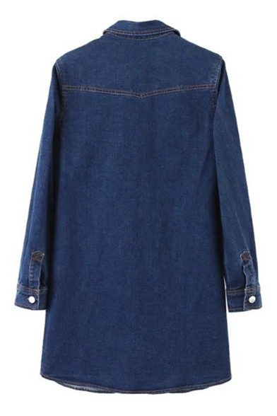 Lapel Collar Buttons Down Long Sleeve Midi Denim Dress
