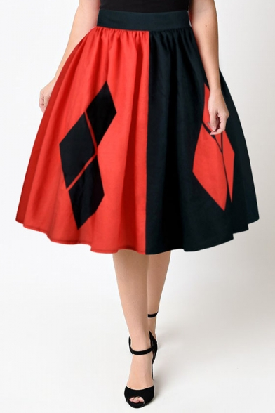 New Arrival Chic Color Block Elastic Waist Midi Flared Skirt Beautifulhalo Com