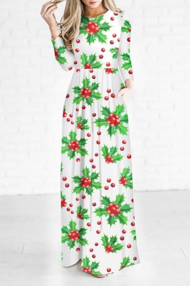 New Arrival Christmas Fruit Trees Pattern Long Sleeve Maxi Dress
