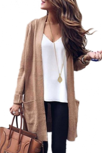 New Collection Basic Plain Long Sleeve Open Front Cardigan with Double Pockets, LC450265, Green;khaki
