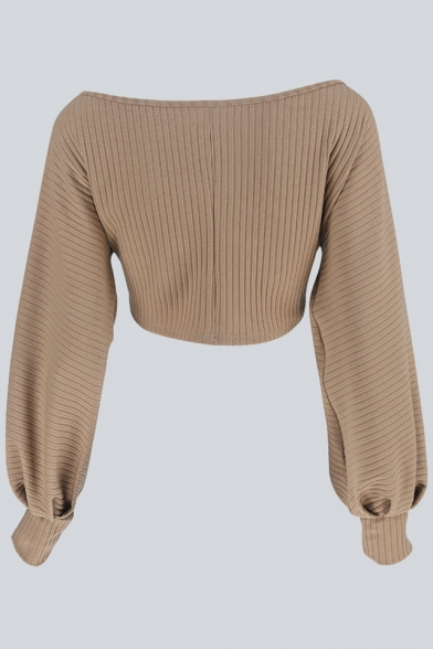 New Sexy Off The Shoulder Long Sleeve Simple Plain Cropped Blouse