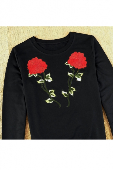 Neck Embroidered Sleeve Round Sweatshirt Long Rose Sw0HCqF