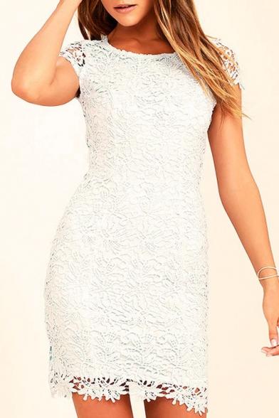 Sexy Open Back Round Neck Cap Sleeve Simple Plain Lace Mini Dress