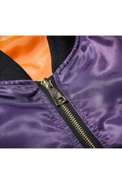 Casual Leisure Fashion Letter Pattern Stand-Up Collar Zip Up Bomber Jacket