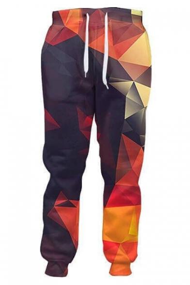 Chic Color Block Mirror Printed Drawstring Waist Sports Pants