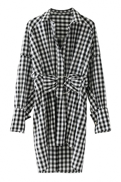 Tunic Long Blouse Plaids Leisure Classic Printed Lapel Sleeve Collar RnqnIWBwY