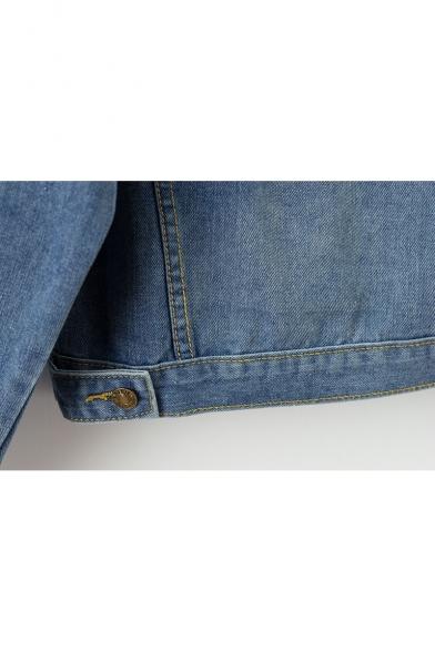 Long Jacket Sleeve Buttons Print Down Lapel Denim Color Block Graffiti vw7TfT