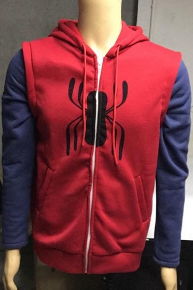 Color Block Spider Pattern Long Sleeve Casual Leisure Zip Up Hoodie