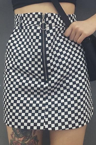 Fashion Black White Plaids Pattern Zip Up Street Style Mini A-Line Skirt