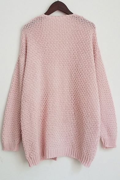 ... Fashion Cable Knit Open Front Long Sleeve Basic Simple Plain Cardigan  with Double Pockets 0e55b2e8e