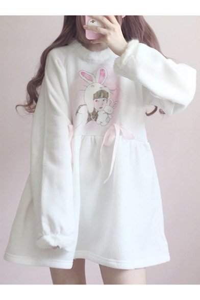 Lovely Cartoon Girl Pattern Long Sleeve Round Neck Mini Smock Dress Beauteous Smock Dress Pattern