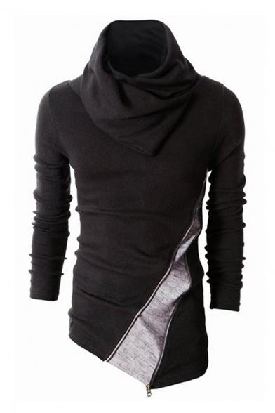 New Collection High Neck Long Sleeve Color Block Zip Embellished Sweatshirt