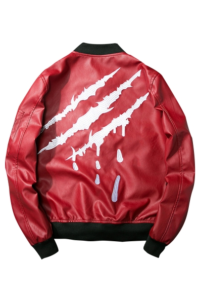 New Fashion Scratch Letter Embroidered Stand-Up Collar Long Sleeve Zip Up Bomber Jacket