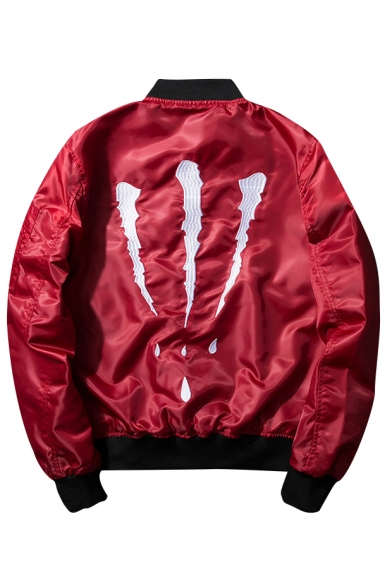 New Stylish Scratch Embroidered Back Stand-Up Collar Unisex Zip Up Bomber Jacket