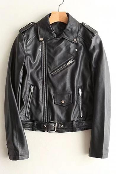 New Trendy Fashion Zip Embellished Lapel Collar Zip Up PU Biker Jacket