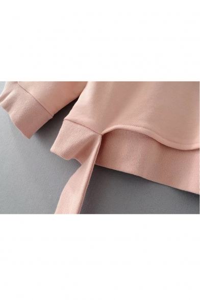 Embellished Sleeve Round Long Neck Ribbons Plain Sweatshirt Hem XPwq5q1