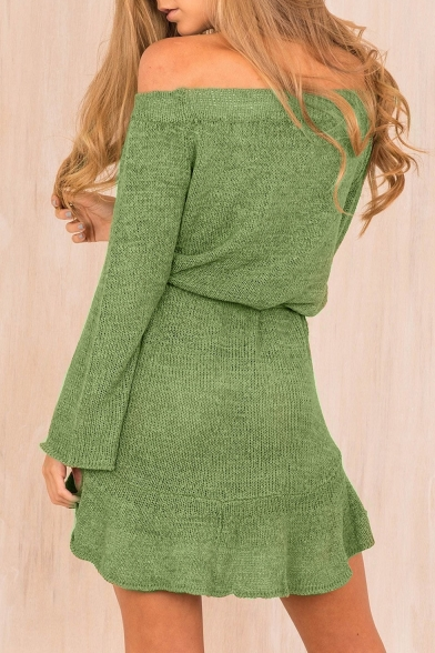Sexy Off The Shoulder Long Sleeve Simple Plain Mini A-Line Dress
