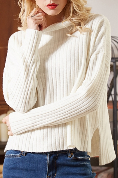Turtleneck Dip Hem Ribbed Long Sleeve Sweater in Loose Fit