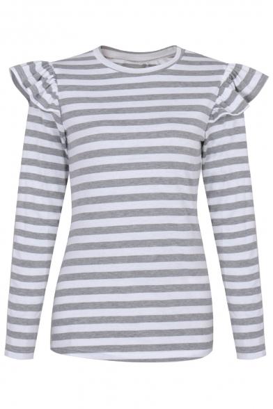 Color Print Round Tee Long Striped Basic Neck Simple Block Sleeve Z1xnwPSq