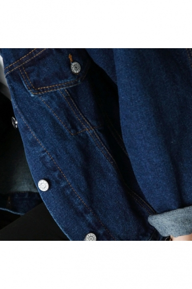 Simple Denim Sleeve Down Style BF Buttons Long Jacket Collar Basic Plain Lapel OAvqdv