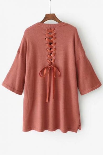 Chic Lace-Up Back Simple Plain Round Neck Half Sleeve Pullover Sweater