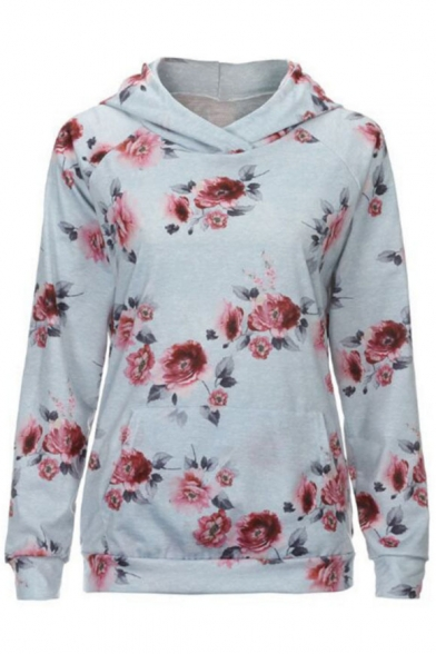 Casual Comfort Floral Pattern Loose Fashion Sleeve Hot Long Hoodie t1q6P0x