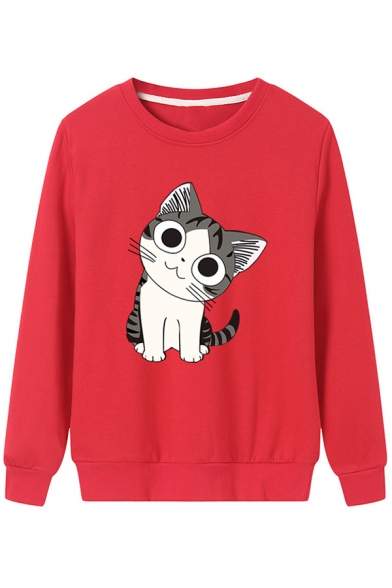 Lovely Cartoon Cat Pattern Long Sleeve Round Neck Casual Comfort Sweatshirt