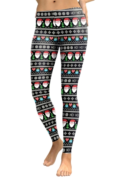 New Arrival Christmas Santa Claus Snowflake Pattern Elastic Waist Leggings